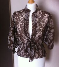 Women's TFNC/ Sheer Top/Blouse Brown & White floral/ dots Size S
