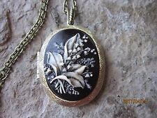 HAND PAINTED LILY OF THE VALLEY CAMEO LOCKET -ANTIQUE BRONZE, QUALITY, B2