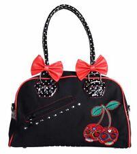 Banned Cherry Bomb Sugar Skull Candy Polka Dot Bow Handbag Rockabilly Black  Red 165fd8a6293a7