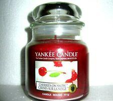 "Yankee Candle ""CHERRIES ON SNOW"" Fruit Medium 14.5 oz  SIZE NEW!"