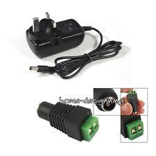12 Volt UK Plug Power Supply Adaptor Transformer for LED RGB Strips Lights CCTV