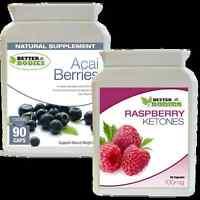 90 Raspberry Ketone + 90 Acai Berry Colon Cleanse Ketones Combo Weight Loss