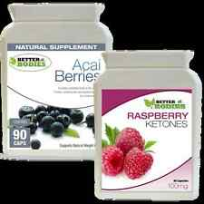 90 Raspberry Ketone + 90 Acai Berry Colon Cleanse Ketones Combo Weight Loss