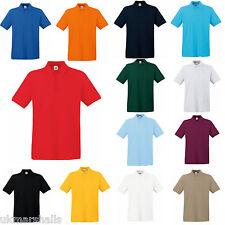 Fruit of the Loom Premium 100% Cotton Polo T Shirt Golf Casual Uniform 63218