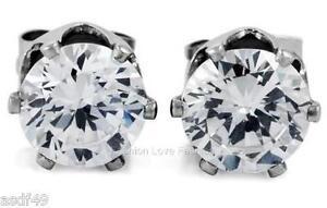 Clear Round CZ Cubic Zirconia Magnetic Clip On Stud Earrings Men Women 4mm 10mm