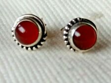 STERLING SILVER ROUND 7mm STUD EARRINGS with CARNELIAN CABOCHON STONES £10.50nwt