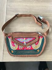 Brown Leather Colourful Bumbag Woollen Design