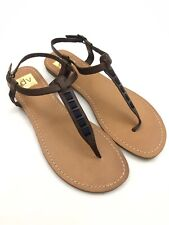 Women's DV DOLCE VITA Sz 9.5 Brown Blue Ribbon Trim Beach Summer Sandals Shoes