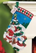 Bucilla Felt Applique Christmas Stocking Kit: Pick a Tree, New, Free Shipping