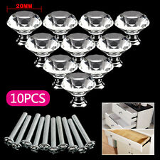 10Pcs Diamond Cupboard  Door Knobs Clear Crystal Cabinet Draw Pull Handles