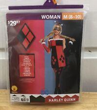 Harley Quinn Costume Women's Medium New Set Halloween Cosplay