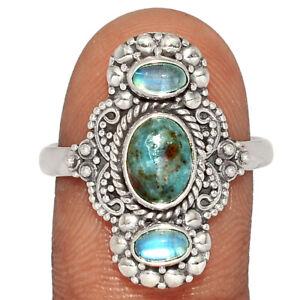 Filigree - Ruby In Kyanite, India & Moonstone 925 Silver Ring s.10 BR81824