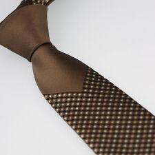 Coachella Ties Brown Knot Contrast Black With Brown Polka Dot Necktie SKINNY Tie
