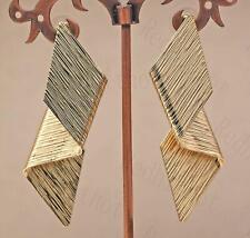 """18K Gold Filled 2.5"""" Earring Twisted Folding Pattern Stylish Ear Stud Jewelry DS"""