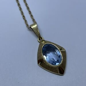 """9ct Yellow Gold Necklace with an Amethyst Pendant 19"""" Long 4g"""
