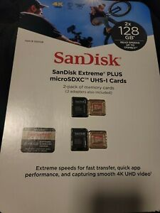 SANDISK EXTREME PLUS 128GB MICROSDXC UHS-1 CARDS 1320128 2-PACK NEW SEALED