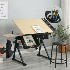Wood Drafting Table Stool Drawing Desk Craft Table with Tilting Top W/ 2 Drawers