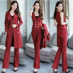 Womens Striped Blazers Vest Flared Pants 3Pcs Formal Business Suits Coats S-3XL