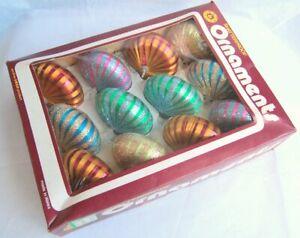 Boxed Set Vintage Swan Shatterproof Ornaments Baubles SB/21 Onion