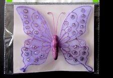 """Floral Garden Sheer Rhinestone Glitter 7""""x6"""" Purple Butterfly W/Clip Package New"""