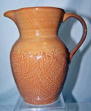 Country Brown Orange 222 Fifth Craft Water Milk Pitcher Burlap Stoneware Vase