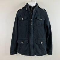 Jedidiah Men's Commander Double Zipped Jacket Size Large Hidden Hood