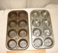 2 Vintage Cupcake/Muffin Pans, Bake King & Bakerex Crown Wear, 8-Cup Starburst