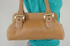 FRANCO SARTO Medium Tan Leather Shoulder Hobo Tote Satchel Purse Bag