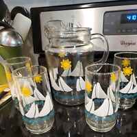 Vtg. Sailboats Sunshine and Blue Waves Glass Pitcher with Ice Lip with 4 glasses
