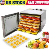 6 Tray Food Dehydrator Machine Stainless Steel Racks Healthy Fruit Jerky r