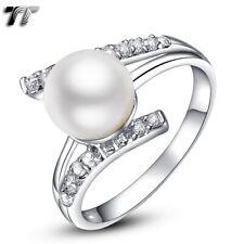 TT RHODIUM 925 Sterling Silver Pearl Engagement Wedding Ring (RW27)