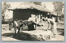 """Korean Village"" Pyongyang NORTH KOREA Rare RPPC Antique Photo ""Heijo"""