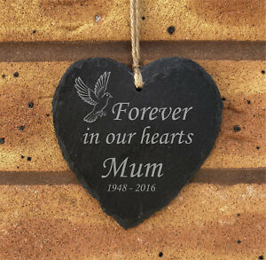 Forever In Our Hearts - Personalised Hanging Slate Memorial Plaque - Mum Dad