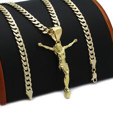 Mens 18k Gold Plated JESUS Hip-Hop Pendant 6mm Cuban Chain Necklace (K-2)