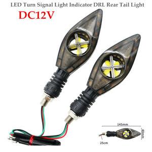 2PCS Motorcycle Scooter LED Turn Signal Light Indicator DRL Rear Tail Light Kit