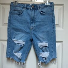 Forever 21 Distressed High Waisted Jean Shorts Size 26 Light Wash Denim Shorts