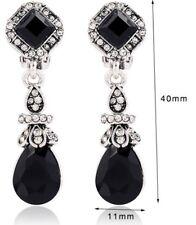 Qualità argento lunga Dangle pietra nera a Clip Orecchini Diamante non Pierce E100