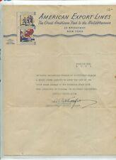 Illustrated Letterhead AMERICAN EXPORT LINES 1934 color Yankee Vagabond Cruises