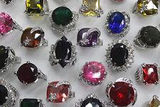 Lots 25pcs imitate CZ Rhinestone Sliver P Mulitcolor Big rings Wholesale Jewelry