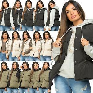 Womens Sleeveless Quilted Drawstring Gilet Waistcoat Padded Jacket Bodywarmer