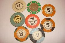 (8) Nevada Club Nevada Lodge $1-$5-$25 Casino Chips Reno/Crystal Bay NV 1964