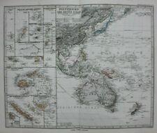 More details for original antique map polynesia, pacific, fiji, tonga, australia, stieler, 1886
