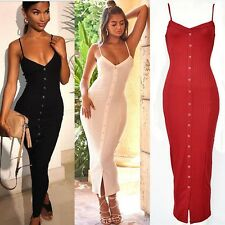 Women Ribbed Long Bodycon Dress Slit Slim Fit Party Dating Valentine Clubbing UK