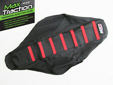 SUZUKI RMZ250 10-17 RIBBED GRIPPER SEAT COVER BLACK WITH RED STRIPES RIBS