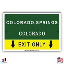 Colorado Springs, Colorado Highway Exit Novelty State City Aluminum Metal Sign