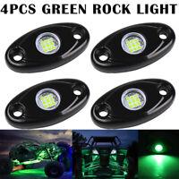 4Pcs Green LED Rock Lights Offroad Underbody Wheel Fender Driving Lamp ATV UTV