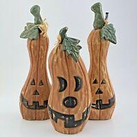Wooden Jack-o-Lantern Pumpkin Halloween Fall Decor Rustic Pumpkin Set of 3