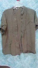 olive green button up blouse w/mock pleats very sporty and nice womans XL