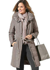 Taupe / Mink Shimmer Longline Large collar Padded Winter Coat with Pockets 16