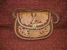 Vintage Master Hand-Tooled Genuine Leather Purse Hand bag Over Shoulder Natural
